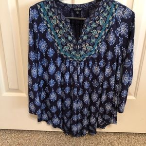 Lucky Brand Blue Peasant Top